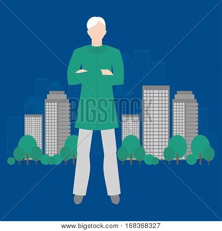 Eco-analyst. Ecology of sity analysis. Future and people concept. Can be used for advertisement infographics game or mobile apps icon.