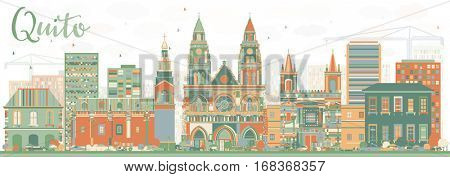 Abstract Quito Skyline with Color Buildings. Vector Illustration. Business Travel and Tourism Concept with Historic Architecture. Image for Presentation Banner Placard and Web Site.