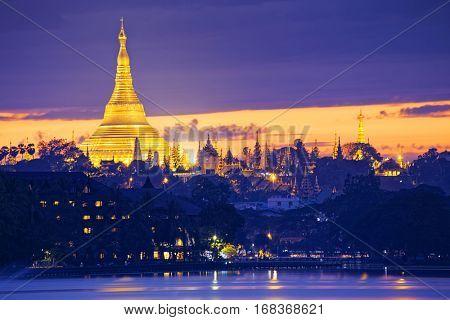 Shwedagon Pagoda at night , Myanmar Yangon landmark