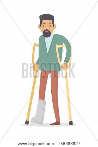 Homebody on crutches with broken leg isolated on white. Male handicapped person. Man on vacation with medical sick-leave certificate. Disable man in flat style design. Vector illustration