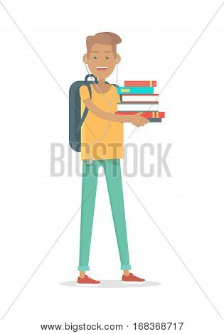 Student with pile of books isolated. Young man student in earphones with rucksack in flat style. Boy holding heap of books. Reading student. Smiling man study. Self education. Vector illustration