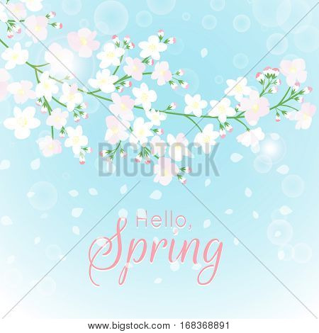 Spring branch card. Blossoming tree with beautiful flowers. Vector illustration