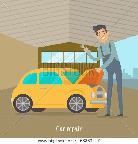 Man repair car. Car service illustration in flat style design. Auto mechanic in service room office. Car service worker. Repair test yellow car. Machinery engineer. Car service concept. Vector