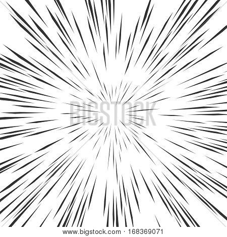 Fast speed warp vector effect. Lines zoom fade converging background. Background to comic book, ray power illustration