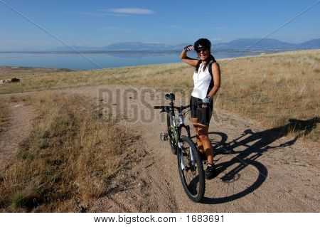 Laughing Female Mountain Biker