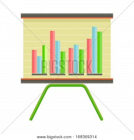 Presentation screen with bar charts isolated. Presentation board with information, scheme, stock lines. Flip Chart. Editable items in flat style for web design. Infographics. Interactive board. Vector