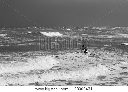surfer paddles out against the waves in the stormy sea. Vintage black and white