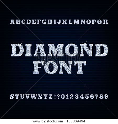 Diamond alphabet font. Brilliant type letters and numbers. Stock vector typography for your design.