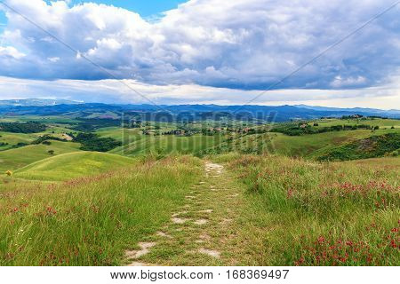 Magnificent Tuscan landscape fields and meadows near Volterra in Italy