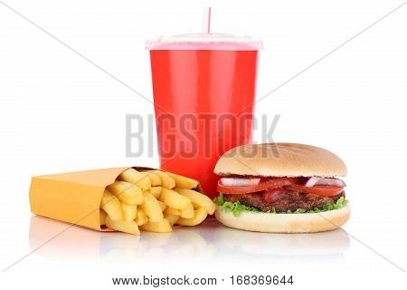 Hamburger And Fries Menu Meal Combo Fast Food Drink Isolated