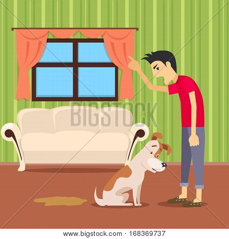 Choleric temperament type boy shouting on pet. Angry boy punishing his dog. Quarrel. People personality reactions and problems. Master in bad mood scream on puppy. Vector illustration in flat style