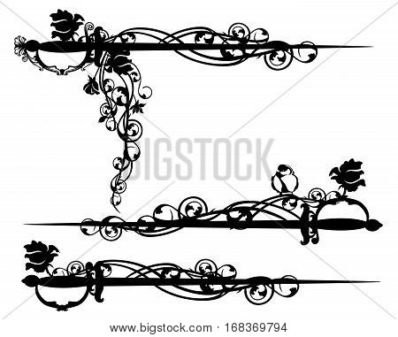 epee sword among rose flowers with bird - black and white vector design set