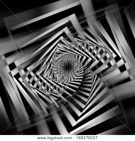Abstract Black And White Square Spirals