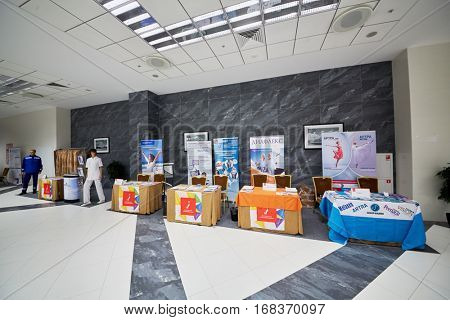 MOSCOW, RUSSIA - NOV 13, 2015: Exhibition tables in congress park of Radisson Royal Ukraine hotel during international congress Manage Pain.