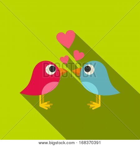 Blue and pink birds with hearts icon. Flat illustration of blue and pink birds with hearts vector icon for web   on lime background