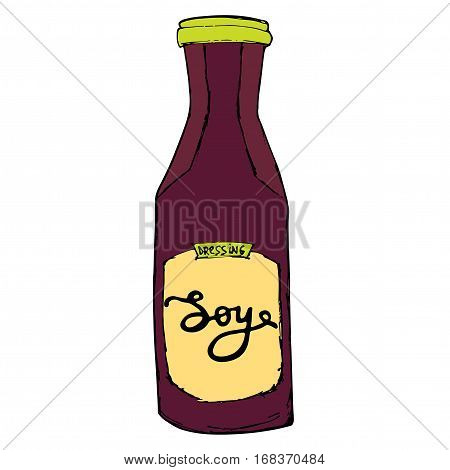 Soy sauce glass bottle isolated with hand drawn letters. Cartoon soy jar sketch illustration.