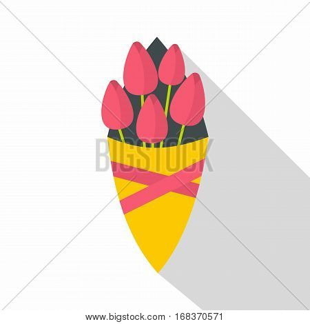 Bouquet of pink tulips icon. Flat illustration of bouquet of pink tulips vector icon for web   on white background