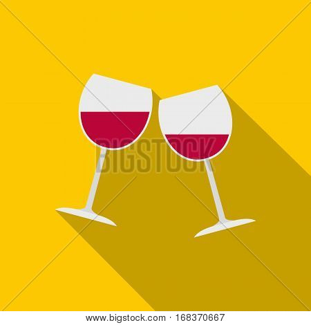 Two glasses of red wine icon. Flat illustration of two glasses of red wine vector icon for web   on yellow background