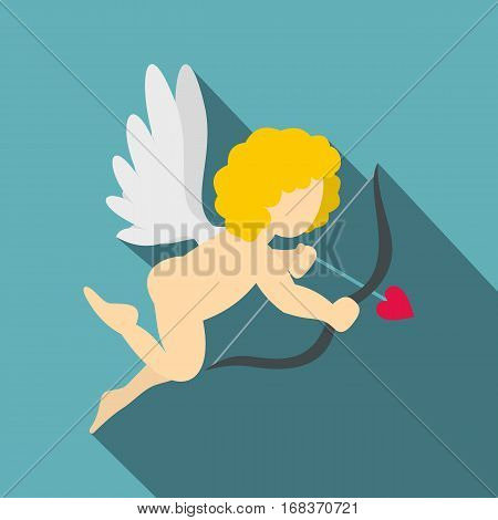 Amur or Cupid icon. Flat illustration of Amur or Cupid vector icon for web   on baby blue background