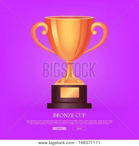 Trophy bronze cup isolated on light violet background. Shiny, glossy, big, beautiful prize with two twisted handles on brown basement with a piece of bronze. Flat design. Vector illustration
