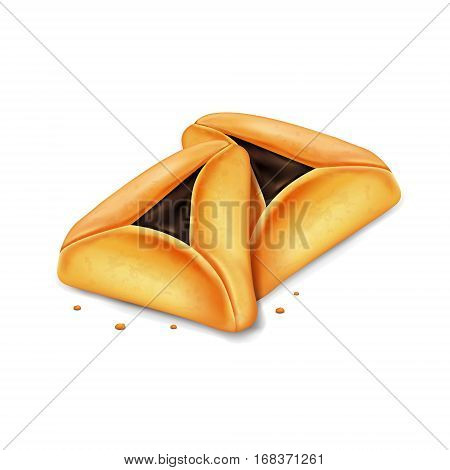 Realistic vector hamantaschen cookies for Jewish festival of Purim.