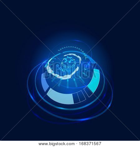 Vector illustration of Futuristic interface, HUD, technology background, sci-fi
