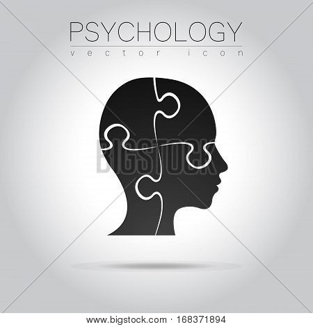 Modern head puzzle logo of Psychology. Profile Human. Creative style. Logotype in vector. Design concept.