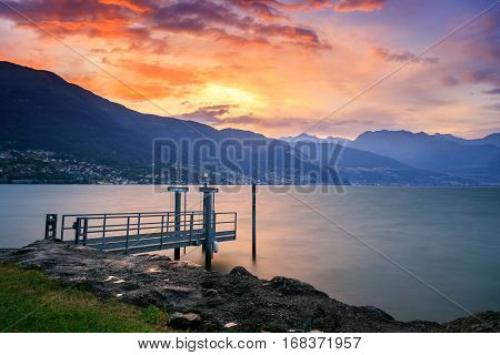 Stormy beautiful sunset in lake Como-Italy Europe