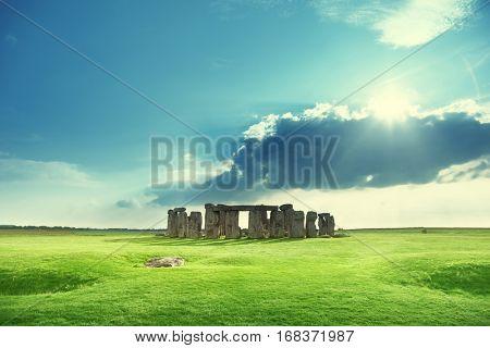 sunny day and Stonehenge, UK