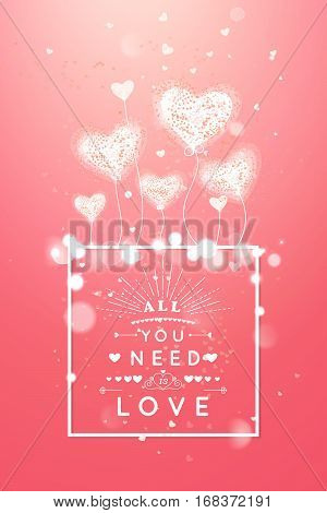 Happy valentines day and weeding design elements. Vector illustration. Light Pink bokeh Background With air Hearts. Love forever and ever.