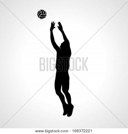 Stylized athlete, played volleyball. Volleyball player on setter position. Eps 8, vector illustration