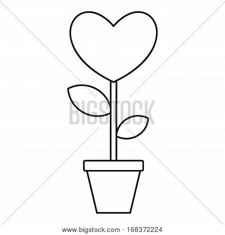 Valentine flower pot icon. Outline illustration of Valentine flower pot vector icon for web