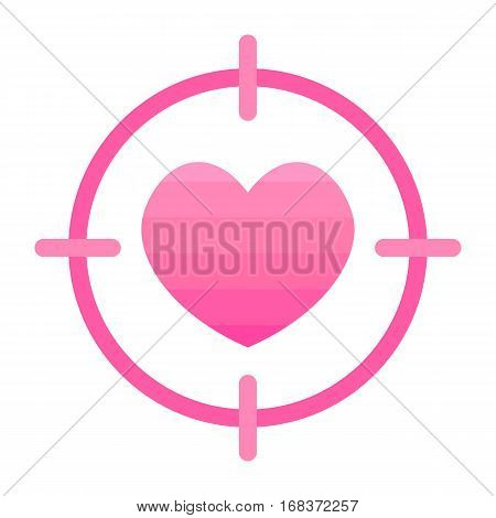 Flat design vector heart in scope, sight icon isolated on white background.