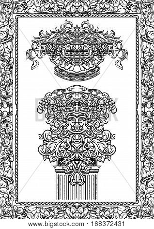 Vintage architectural details design elements. Antique baroque classic style column, cartouche and border. Hand drawn vector illustration
