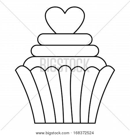 Cupcake with heart icon. Outline illustration of cupcake with heart vector icon for web