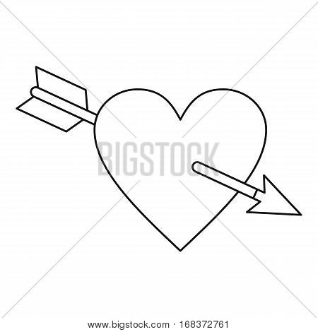 Amour symbol with heart and arrow icon. Outline illustration of amour symbol with heart and arrow vector icon for web