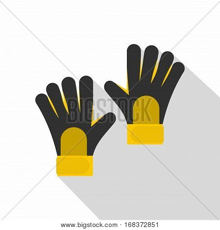 Soccer goalkeepers gloves icon. Flat illustration of soccer goalkeepers gloves vector icon for web   on white background