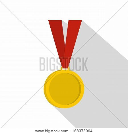 Gold medal icon. Flat illustration of gold medal vector icon for web   on white background