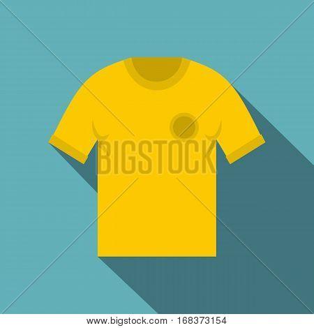Yellow soccer shirt icon. Flat illustration of yellow soccer shirt vector icon for web   on baby blue background