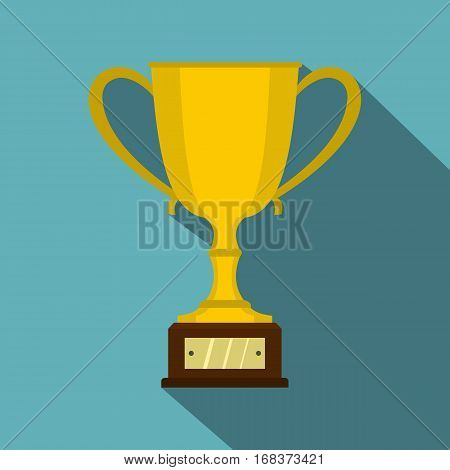 Gold trophy cup icon. Flat illustration of gold trophy cup vector icon for web   on baby blue background