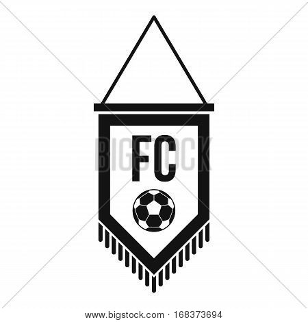 Pennant with soccer ball icon. Simple illustration of pennant with soccer ball vector icon for web