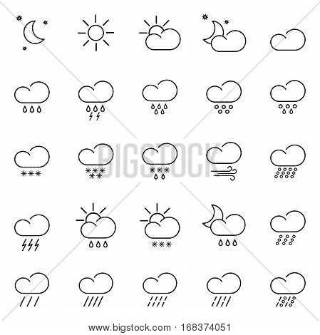 set with different weather icon with colorful background