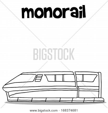 Hand draw of monorail transport vector art