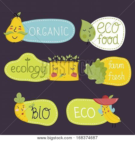 Eco and bio food labels set isolated on perpl background. Natural products stickers with pear, corn and carrots cartoon characters. Healthy eating concept. Eco friendly products. Vegetarian food diet. Organic food logo. Farm food icon.