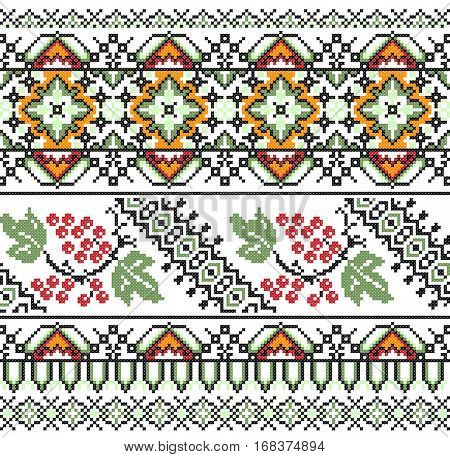 geometric embroidered good like old handmade cross-stitch ethnic Ukraine pattern. Ukrainian towel with ornament, rushnyk called, in vector