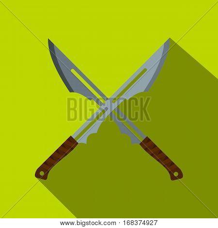 Japanese short swords icon. Flat illustration of Japanese short swords vector icon for web   on lime background