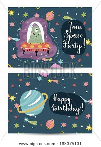 Happy birthday cartoon greeting card on space theme. Cute jelly alien in flying saucer, colorful stars, Saturn planet, comets on blue background vector. Bright invitation on childrens costumed party