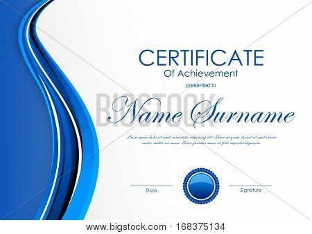 Certificate of achievement template with blue wavy dynamic light background and seal. Vector illustration