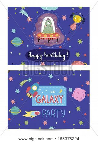 Happy birthday cartoon greeting card on space theme. Funny aliens on spaceship, colorful stars rocket, planets, comet vector illustration on blue background. Invitation on childrens costumed party