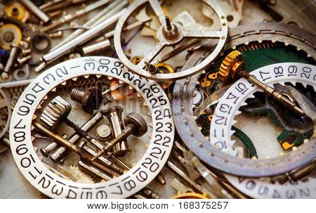 Clockwork spare parts, close up